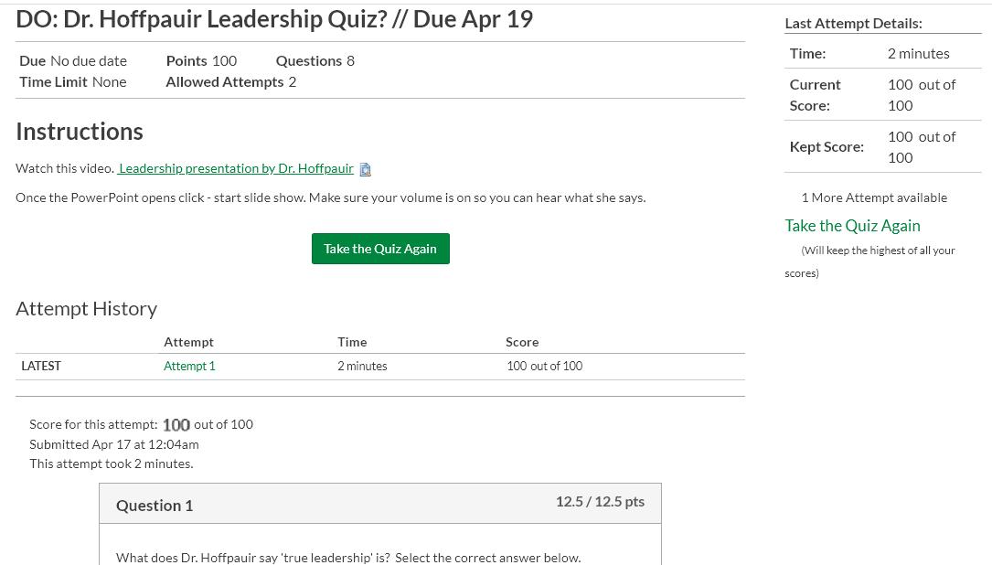 BUSI 2200 DO Dr Hoffpauir Leadership Quiz